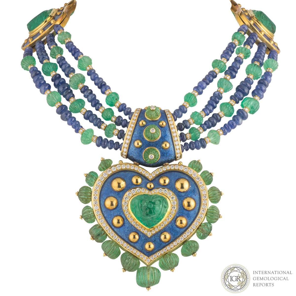 Yellow Gold Diamond, Emerald and Sapphire Necklace